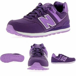 Details about New Balance 574 KL574F3G Kids Girls Purple White Youth Size 7Y Women's 8.5