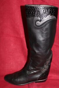 Slouch Original Ver 80er 80s Detalles 39 Leather Título Cuero Boots Botas Uk6 Brunella Vintage Vtg De Negro K31FTlcJ