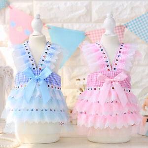 Plaid-Pet-Cat-Dog-Tutu-Dress-Small-Poodle-Clothes-Puppy-Bling-Braces-Skirt-Cute