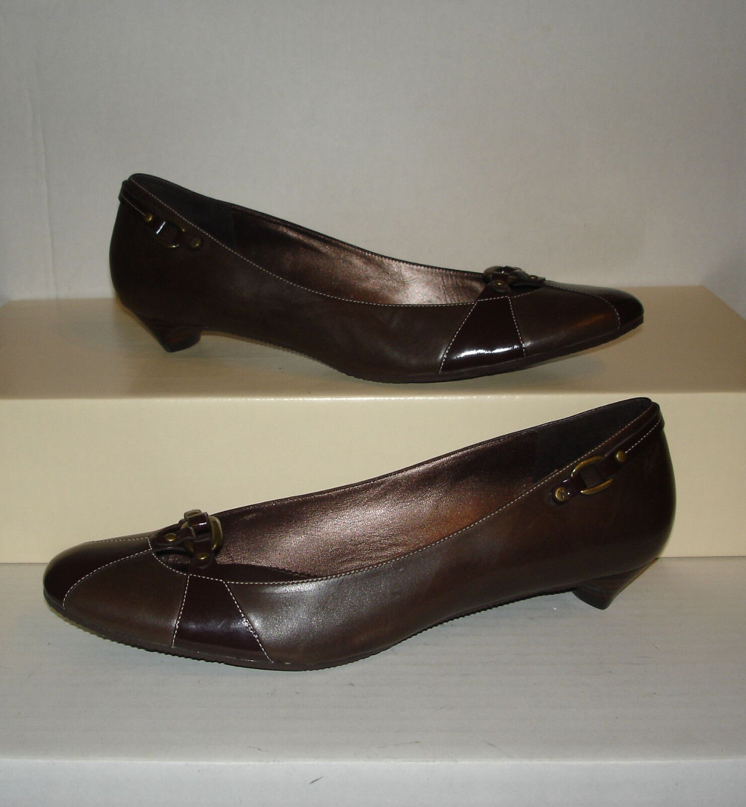 COLE HAAN Women's Dark Brown Smooth Leather Dress Loafers Pumps Size 9.5 B MINTY