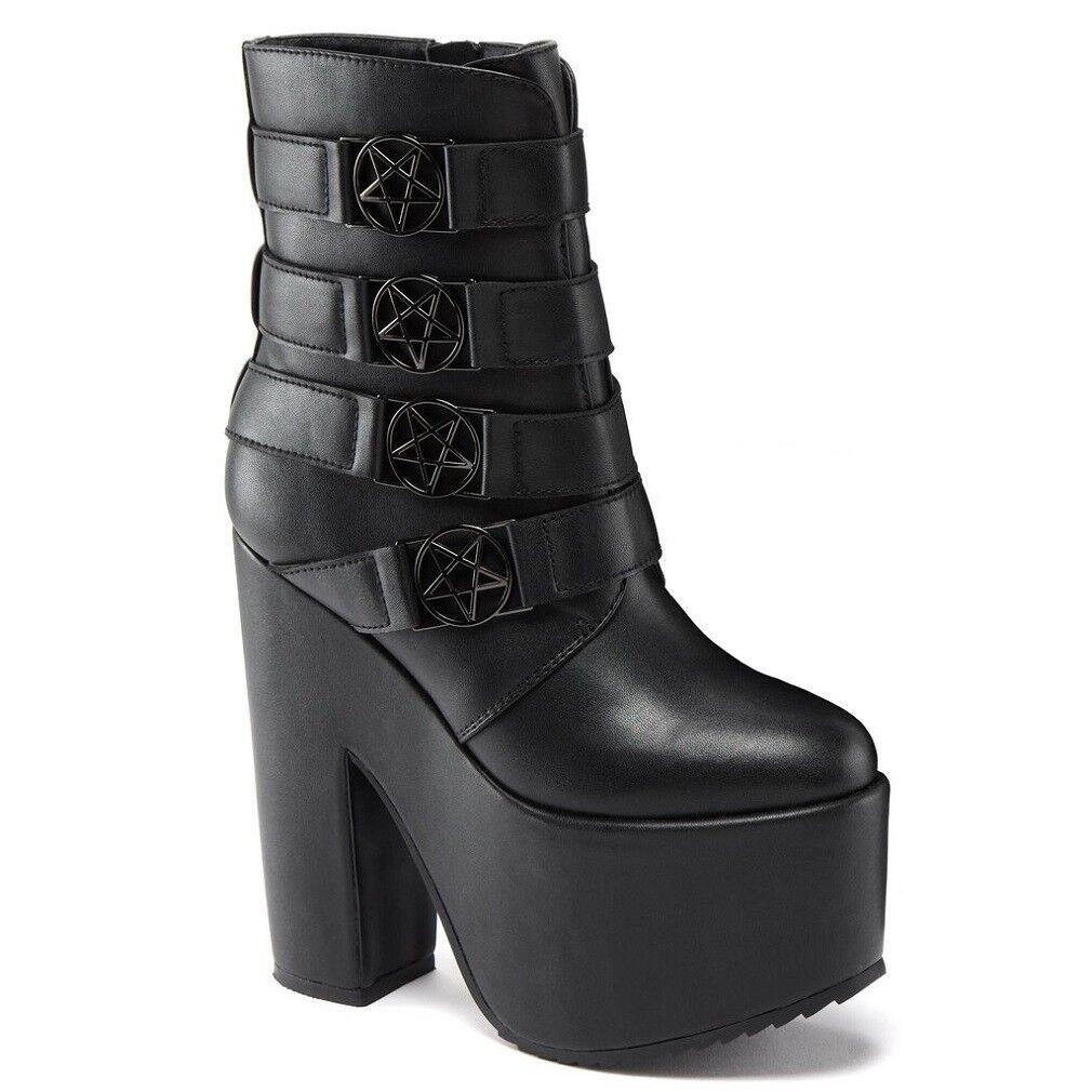 Killstar Gothic Goth Okkult Punk Stiefel Plateaustiefel - Nancy Platform Schuhe