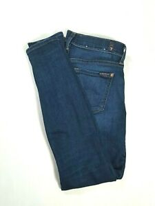 7-FOR-ALL-MANKIND-Womens-THE-ANKLE-SKINNY-Mid-Rise-Jeans-Dark-Wash-Size-26