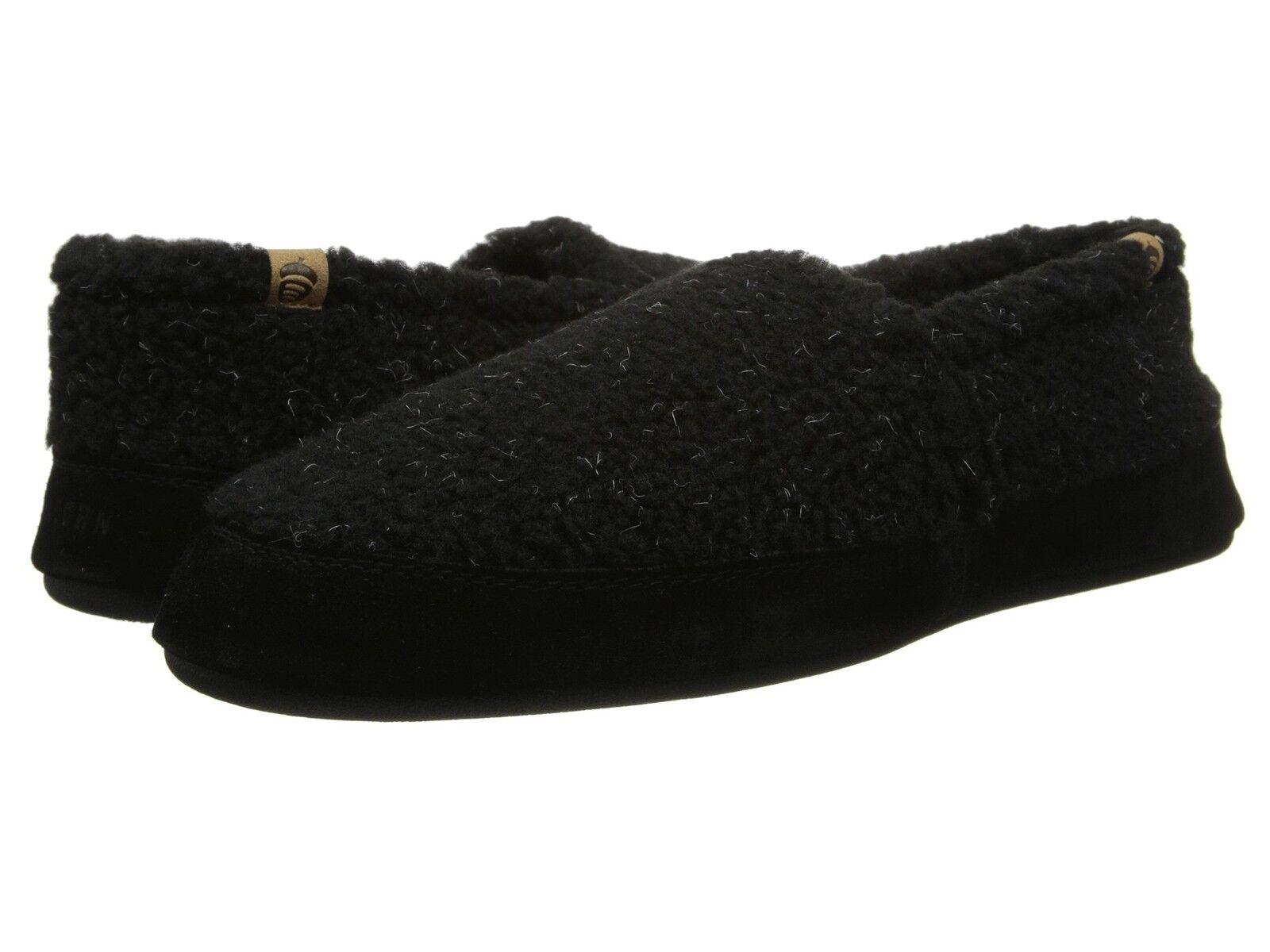 Acorn  Moc  Slipper Fleece Moccasin Black Berbe Mens  All Sizes
