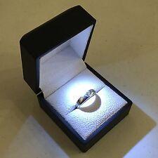 Black LED Lighting Jewelry Engagement Wedding Ring White Gift Box BR00002