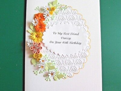 Handmade Personalised  Birthday Day 40th//50th//65th Card Quilled Orange