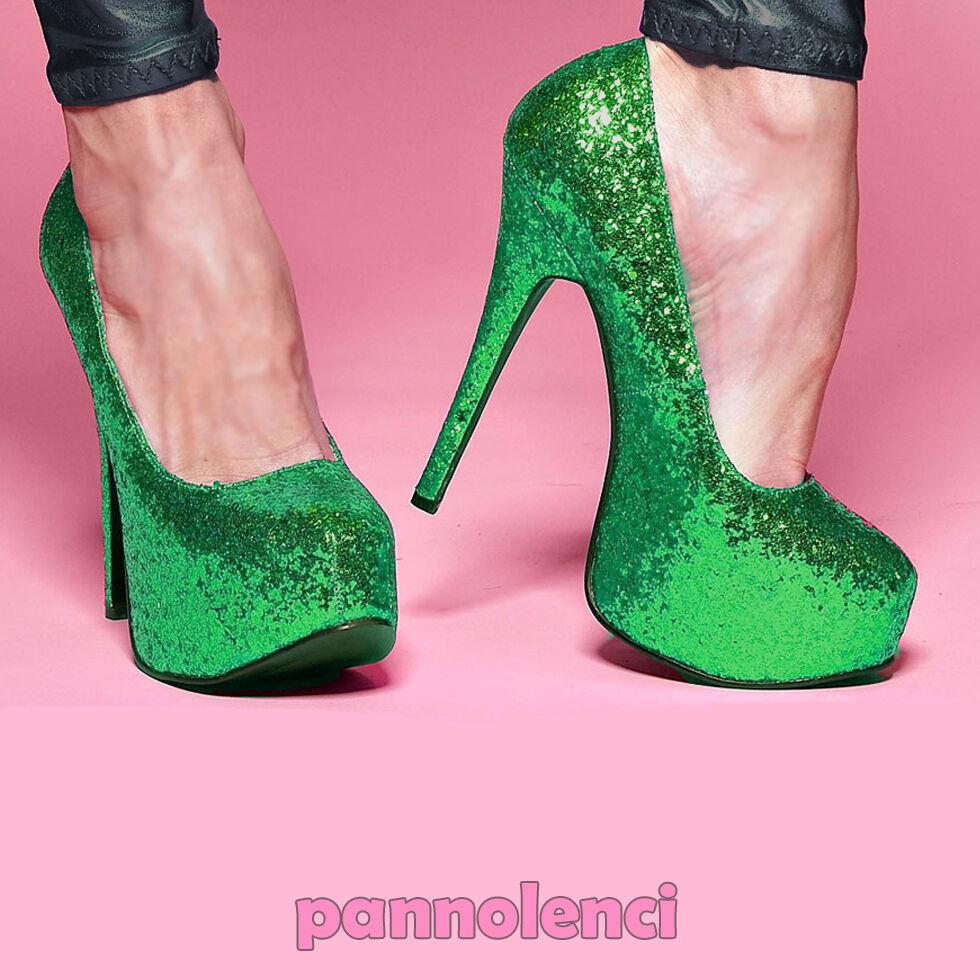 Descuento de liquidación Zapatos de mujer salón Burlesque 36 VERDE purpurina pumps PLS-10