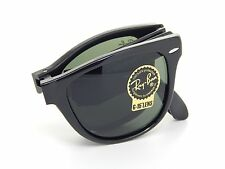 New Ray Ban Folding Wayfarer RB4105 601 Black /Crystal Green 54mm Sunglasses