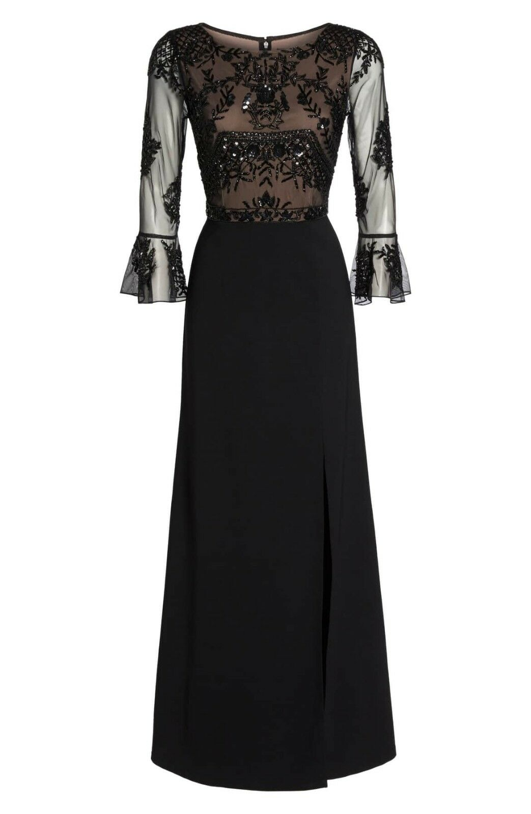 Adrianna Papell Crepe Gown with Sheer Bead Embroidered Bell Sleeves 12