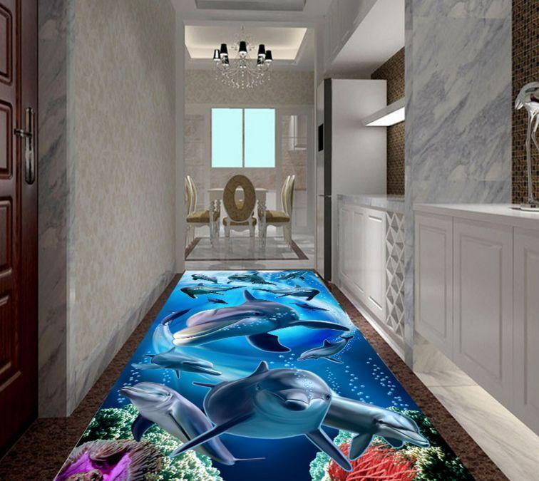 Mar delfín del mundo 5 3D Piso Impresión De Parojo De Papel Pintado Mural Calcomanía 5D AJ Wallpaper