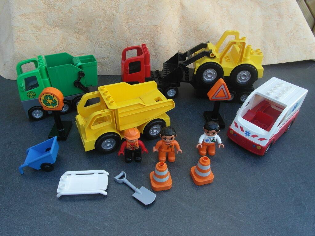 LEGO DUPLO  Baustelle Baustelle Baustelle  Krankenwagen LKW Radlader Müllwagen 6bdd4d