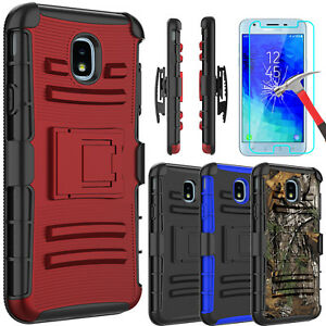 For-Samsung-Galaxy-J3-Orbit-Kickstand-Belt-Clip-Case-Cover-With-Screen-Protector