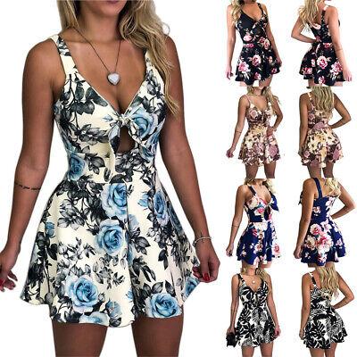 Women Floral Mini Jumpsuit Clubwear Beach Playsuit Shorts Romper Wrap Maxi Dress
