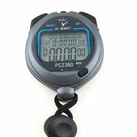 Gray Waterproof 3 Row Display 60 Split Recallable Swim Stopwatch Timer C2360