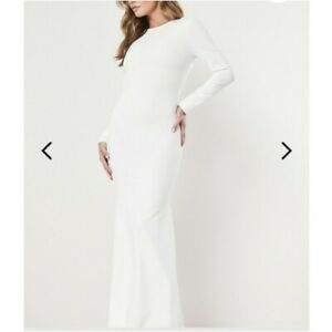 MISSGUIDED-High-Neck-Long-Sleeve-Open-Back-Maxi-Dress-with-Split-in-White-jo30