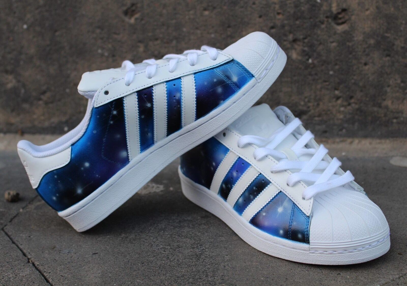 Custom Painted Adidas superstars Blau Purple Galaxy Sneaker Airbrush Graffiti