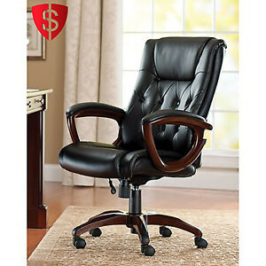 Black High Back Leather Office Rolling Computer Chair Heavy Duty Executive De