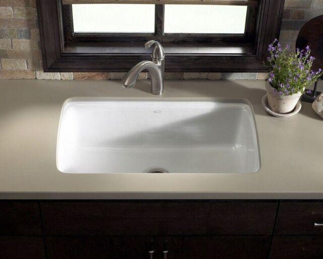 Kohler Cape Dory Undermount Single Bowl Cast Iron Kitchen Sink Biscuit  5864-5U