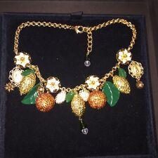 DOLCE & GABBANA Gold Swarovski Crystal Orange Lemon Enamel Flower Charm Necklace