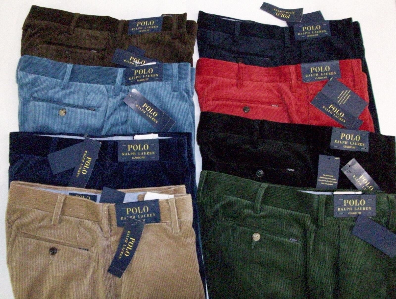 Polo Ralph Lauren Classic Fit Flat Corduroy Pants Stretch Cords  W  Badge NWT