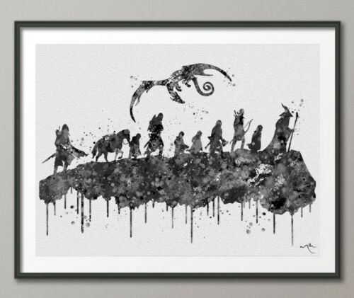 Lord of the Rings Hobbit Watercolor Print Fan Art Movie Poster LOTR Wall Art