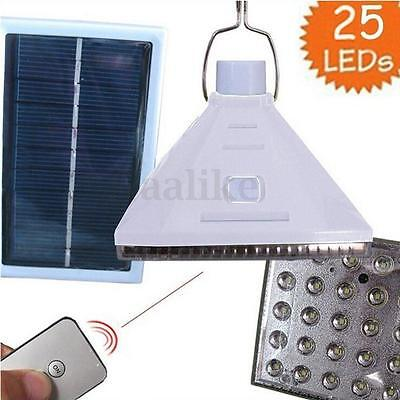 25 LED Solar Powered Yard Outdoor Hanging Tent Light Remote Control Camping Lamp
