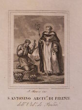 Santo Antonino Vescovo Firenze Fiesole Cortona acquaforte 1840 Domenicano