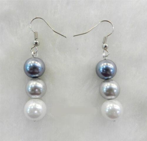Femme 10 mm élégant blanc argent gris Shell Pearl Collier Bracelets Boucles d/'oreilles AAA