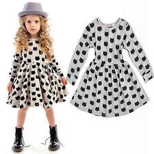 156cf489b811 Toddler Baby Kid Girls Clothes Long Sleeve Cartoon Cat Princess ...