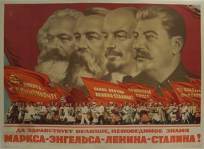 1953 We Praise Great Unbeatable Banner Soviet Russia Poster Stalin Marx Lenin VG