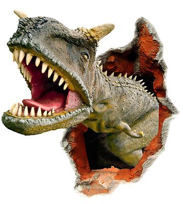 Kid S T Rex Dinosaur Breaking Through Wall Decal Full Color Vinyl Sticker Room Ebay