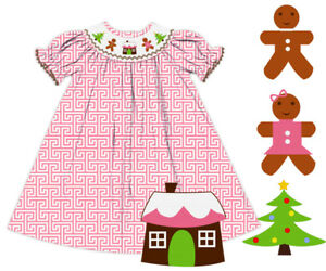 NWT Christmas Tree, Gingerbread Man and House Hand Smocked Pink Greek Key Dress