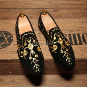 Mens Chic Gold Embroidered Loafers