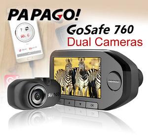 PAPAGO GoSafe 760 GPS Dual Cameras Front1440P+Rear1080P VR w /OTG ...