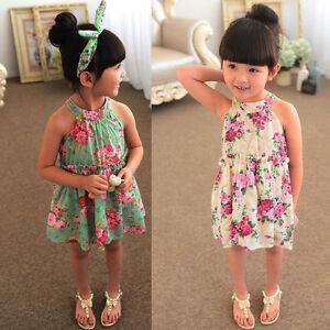 Toddler Kids Baby Girl Summer Off The Shoulder Tops Tutu Dress Sundress Outfit