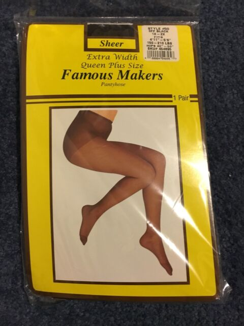 387a588ba8cbe Famous Makers Pantyhose off Black Size 1x-2x Extra Width Queen Plus ...