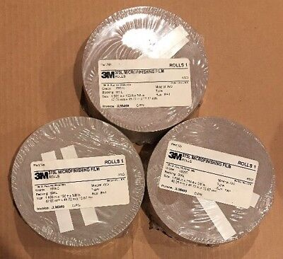 NEW 1 Case 3M microfinishing Film 5 Roll 0.781,150ft,5//8,Abrasive side out 20MIC