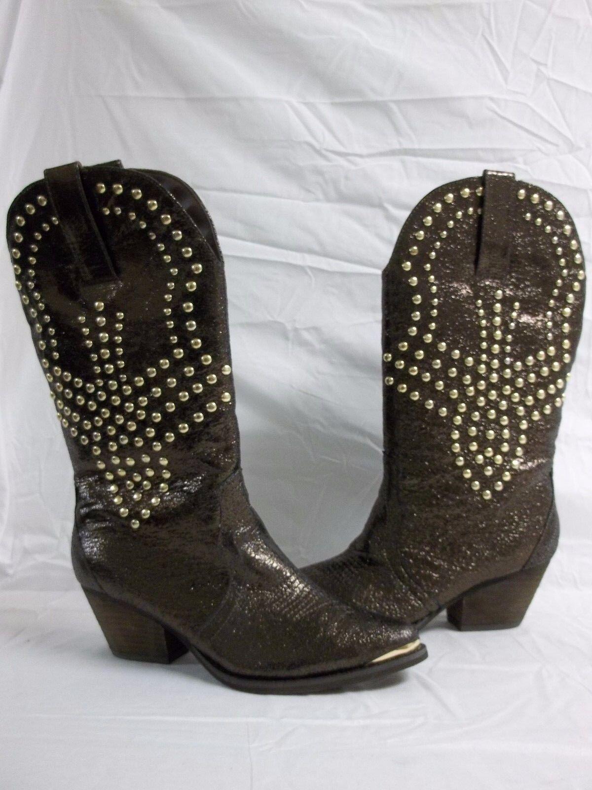 Reba Größe 8.5 M Biker Braun Leder Mid Calf Cowboy Stiefel NEU Damenschuhe Schuhes NWOB