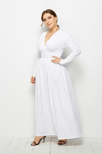 Women Ladies Evening Party Cocktail Maxi Dress V-Neck Long Sleeve Tunic Dresses