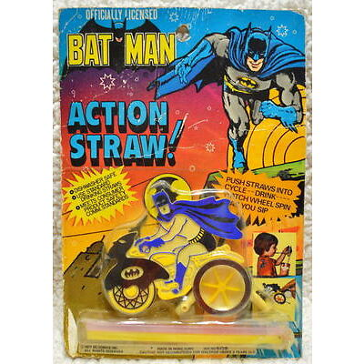 Officially Licensed BATMAN ACTION STRAW 1977 AHI RARE MOC Unopened HOLY GRAIL
