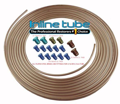 Copper Nickel Brake Line Tubing Kit 3//16 25 Foot Coil Roll /& Metric Fittings ISO