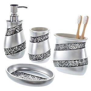 Creative scents bathroom accessories 4 piece mosaic glass for Mosaic bathroom accessories sets