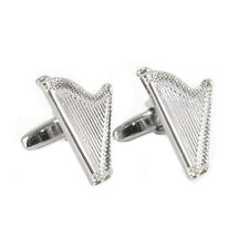 Silberfarben Keltisch Harfe Manschettenknöpfe Neu Verpackt Irisch
