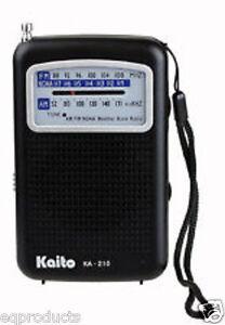 New Kaito AM FM NOAA Weather Small Pocket Radio! Free USA Shipping! KA210