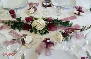 Tischdekoration Set Tischband Bordeaux Creme Hochzeit Verlobung Ebay