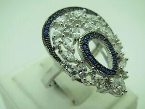 Turkish-Handmade-Jewelry-925-Sterling-Silver-Sapphire-Stone-Women-Ring-Sz-8