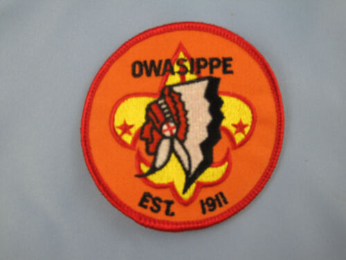 """RETIRED Boy Scouts of America CAMP OWASIPPE 3/"""" Patch-Oldest Scout Camp in U.S"""
