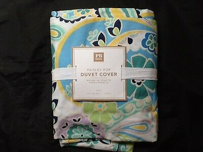 Pottery Barn Teen Paisley Pop Duvet Twin Floral Cool Blue