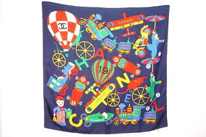 CHANEL-98-cm-Large-format-scarf-100-Silk-Toys-Coco-mark-logo-Stall-Navy-2740k