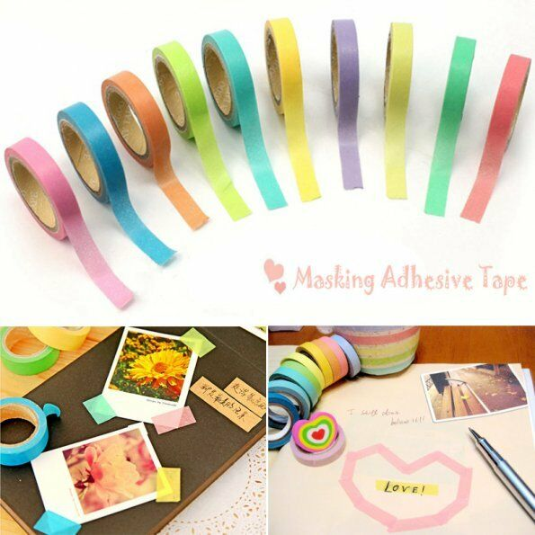 New 10pcs Washi Paper Scrapbooking Decorative Sticker Masking Adhesive Tape Roll