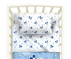 Set Sheets Bed Baby Mickey Mouse Stars White Blue Disney Caleffi Ebay